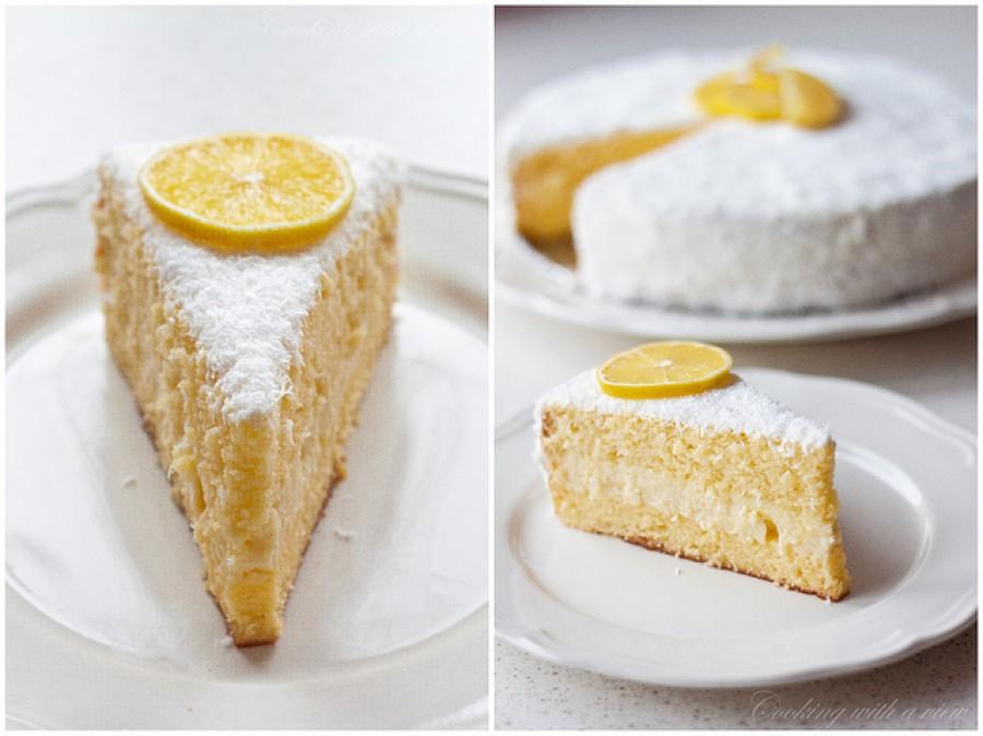 Citromos kókusztorta, omlós piskóta és lágy krém, tökéletes sütemény!